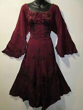 Dress L  / XL Plus Renaissance Burgundy Corset Lace Up Chest Layer Lace Hem 5223