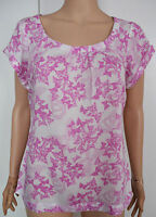 New White Stuff size 8 - 12 Off white Pink Butterfly Print Pleated Top Tunic