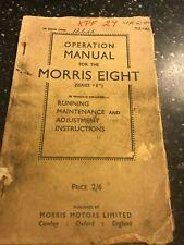 ORIGINAL MORRIS EIGHT 8 SERIES E SERVICE OPERATION REPAIR MANUAL 1946 UK