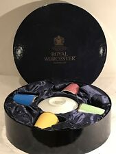 Royal Worcester 4 x Coloured Coffee Cups & Saucers Presentation Box