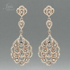 ROSE GOLD Plated Clear Crystal Rhinestone Wedding Drop Dangle Earrings 2166 Prom