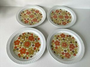 """Vtg Pontesa The Young Range Orange Floral Ironstone 4x 8"""" Plates Made in Spain"""