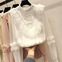 Lady Flower Lace Puff Sleeve Blouse Top Ruffle Retro Elegant Fairy Gothic Lolita