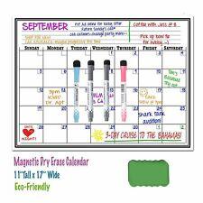 "17"" x 11"" Monthy Calendar Dry Erase Magnetic Refrigerator Plan Board + 4 Marker"