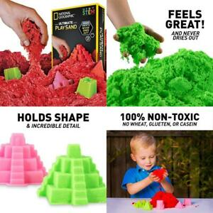 NATIONAL GEOGRAPHIC Play Sand - 2 LBS of with Castle Molds and Tray...