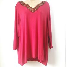 Women's DRESS BARN  Size 2 X Large Y-Neck Red Metalic Beaded Blouse Shirt Top B2