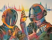 ORIGINAL Daft Punk Colorful Portrait Painting Electronic Techno Music Wall Art