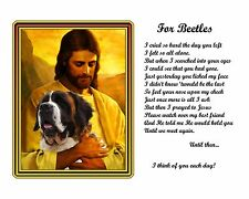St Bernard Memorial Picture w/Jesus/Poem Personalized w/Dog's Name-Pet Loss Gift
