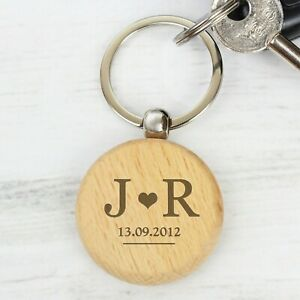 Personalised Monogram Wooden Keyring Valentine's Wedding Anniversary Gift Idea