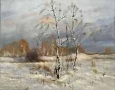 "Original Oil Painting, Landscape, BURCHES IN WINTER 16x20"". Schelp"