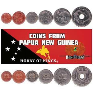 SET 6 COINS PAPUA NEW GUINEA 1 2 5 10 20 TOEA 1 KINA 2002 - 2018