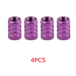 4x Purple Car Wheel Tire Valve Caps Accessories Aluminum Airtight Stem Air Cap