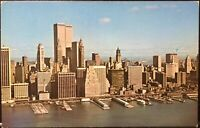 New York City~Skyline of Lower Manhattan with World Trade Center 1970's Postcard
