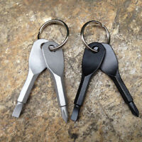 2 key Keychain Keyring Multi Tool Stainless EDC Screwdriver Opener Camping Tool