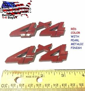 2 Pieces RED 4 X 4 EMBLEM 4X4 nameplate medallion CAR TRUCK logo DECAL sign