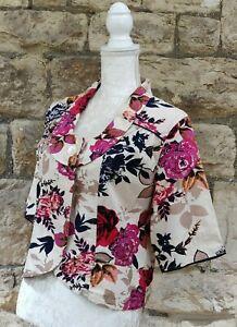 UK16 Adini Women's Cotton Flowery Scoop Collar Summer Jacket
