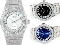 Men Iced Watch Bling Rapper Simulate Diamond Lab Metal Silver Luxury Nugget Hot