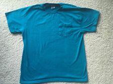 VINTAGE 1990s HANES PLAIN BLANK TEAL BLUE GREEN T-SHIRT vtg 80s 1980s 90s soft