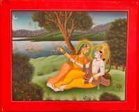 Hand Painted Hindu God Krishna Radha Miniature Painting India Art Paper