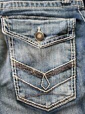 Decree Jeans Straight Leg Pants Medium Wash Flap Pockets Sz 30Wx30L 1Button Gone