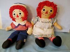 "VERY NICE & CLEAN 1970 15"" KNICKERBOCKER RAGGEDY ANN & ANDY DOLLS"