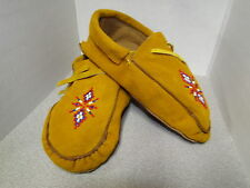 BEAUTIFUL NATIVE AMERICAN BEADED MOCCASINS- 10.5 INCHES