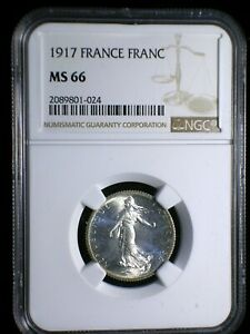 Republic of France 1917 Franc *NGC MS-66* WW-I Issue Only 9 Graded Higher