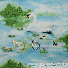 BonEful Fabric FQ Cotton Quilt Blue Water Cloud Sky Scenic Lake Swan Baby Duck S