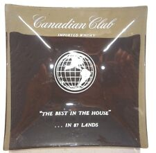 Vintage SQUARE Glass CANADIAN CLUB Import Whisky Ashtray