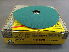 """Klingspor CS570 Fibre Discs 125x22mm Grit 80 - Box of 25 (5"""")"""