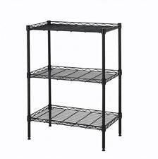New Wire Shelving Cart Unit 3 Shelves Shelf Rack Black 773 Layer Tier