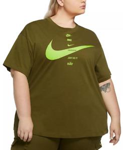 Nike Womens Sportswear Plus Size Cotton Swoosh Logo T-Shirt