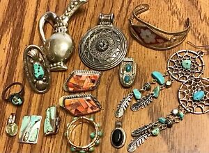Vintage Silver Jewelry Lot Mexico India Alice Long Ring DTR Jay King Turquoise