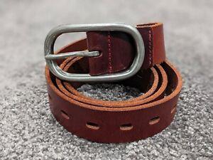 Womens Dark Reddish Brown Adjustable Leather Belt Silver Metal Buckle One Size