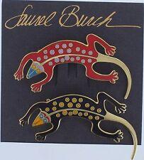 LAUREL BURCH Brooch LIZARD Pin Cloisonne Enamel Vintage Black Red LB New MOC