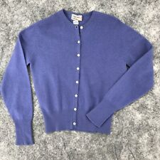 """Vintage Ballantyne Cashmere Cardigan sweater 35"""" chest purple long sleeves lilac"""