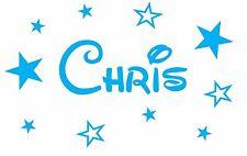 Personalised Boys Girls Name Vinyl Wall Sticker Disney font + stars/butterflies