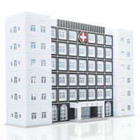 1/150 N Scale Hospital Buildings Model Office Skyscraper Assembled Plastic Parts
