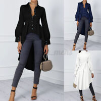 ZANZEA Women Puff Sleeve V-Neck Solid  Plain Shirt Asymmetric Hem Tunics Blouses