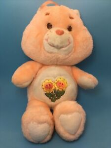 """13"""" Care Bear Friend Bear with Yellow Flowers on Belly Kenner Vintage 1983 Plush"""