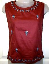 BURGUNDY EMBROIDERED COTTON TUNIC HIPPIE BOHO CAMISOLE VEST TOP SZ 8/10  # H195