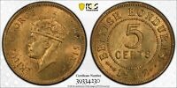 PCGS MS-64 BRITISH HONDURAS 5 CENTS 1952 (MINTAGE OF ONLY 100K)