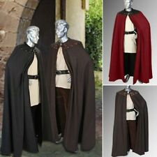 Men Cosplay Coat Leather Trimmed Cloak Medieval Theater Stage Show Knight Cape