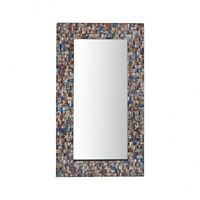 Rectangular Wall Mirror With Geometric Mosaic Border Made Of Mosaic Glass In