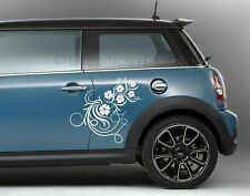 2 x Flower Car Stickers, Mini Cooper Custom Vinyl Side Graphic Decals