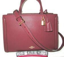 Coach F88037 Zoe Wine Color Pebbled Leather Carryall Handbag NWT $498