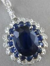 ESTATE 6.51CTW DIAMOND SAPPHIRE 14KT WHITE GOLD FILIGREE CLUSTER PENDANT #PD2201