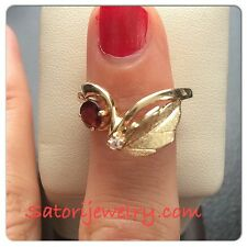 14 KT Solid Yellow Gold Leaf Ring With Red Garnet And Diamond Band Ring *New*