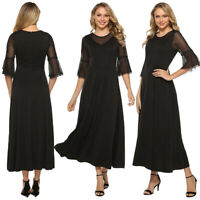 Women Short Sleeve Mesh Lace Evening Cocktail Party Long Dress Prom A-Line Dress