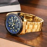2017 Blue Dial Stainless Steel Wrist Watches Men's Luxury Date Analog Quartz MT